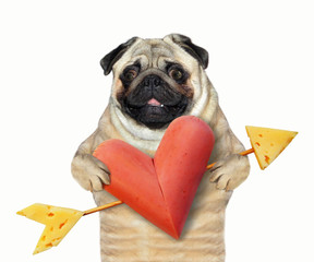 The dog is holding a heart shaped sausage pierced by a cupid's arrow made of cheese. White background.