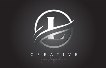 L Letter Logo Design with Circle Steel Swoosh Border and Creative Icon Design.