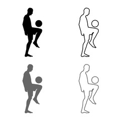 Soccer player juggling ball with his knee or stuffs the ball on his foot silhouette icon set grey black color illustration outline flat style simple image