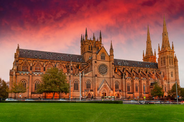 Sunset over St Mary's Cathedral