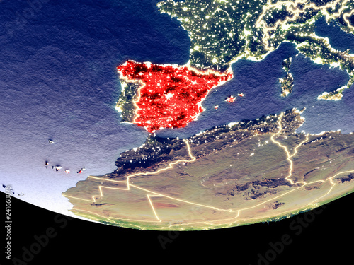 Satellite Map Of Spain.Satellite View Of Spain From Space At Night Beautifully Detailed