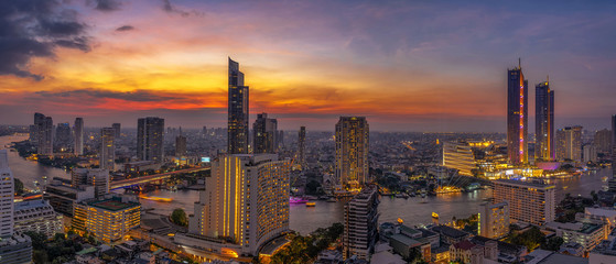 Panorama of Bangkok cityscape river side Modern building at Fantastic twilight time,Thailand