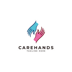 Outline monoline and color fill caring social charity logo, care hand icon vector