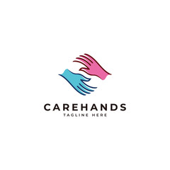 Outline monoline and color fill caring social charity logo, care hands icon vector