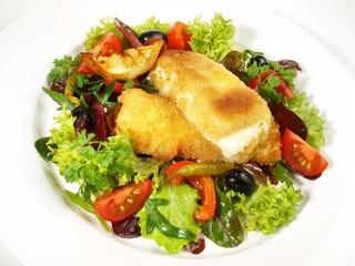 Gebackener Feta-Käse auf Salat