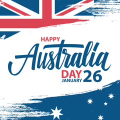 Happy Australia Day, january 26 greeting card with hand lettering and brush stroke in colors of the australian national flag. Vector Illustration.
