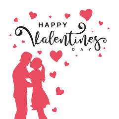Vector happy valentines day with couple silhouette and decorative lettering on white background. Illustration of romantic holiday greeting card and web banner design.