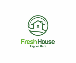 Fresh House logo design concept, Business Real Estate logo template