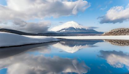 Mount Fuji Reflection at Yamanakako Lake with Snow in Winter, Japan
