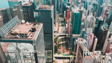 Fototapete - Hong Kong Central district aerial view with cinematic color graded