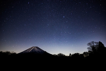 Mt. Fuji at starry night in winter.