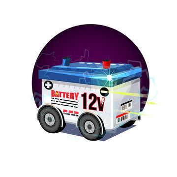 car battery with wheel. 12 volts battery - vector