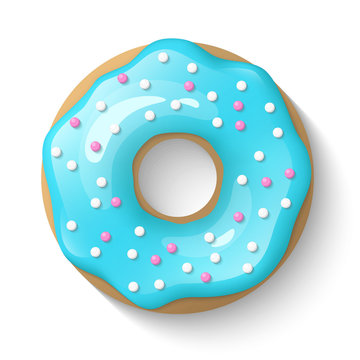 Donut isolated on a white background. Cute, colorful and glossy donuts with blue turquoise glaze and multicolored powder. Simple modern design. Realistic vector illustration.