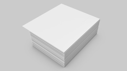 Stacks of white sheets of paper on a gray background. 3d rendering