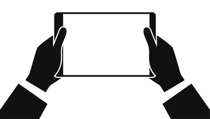 Tablet in hands isolated on white background. Man's hand holding a tablet in hand. Realistic template. Simple design cartoon icon and logo. Flat style vector illustration.
