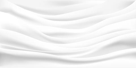 Rippled wavy milk. Beautiful background. Realistic design. Shiny silk fabric. Vector illustration.