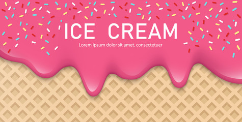 Creamy liquid, yogurt cream, ice cream or milk melting and flowing on a waffle. Pink creamy drips with powder. Simple cartoon design. Background for banner or poster. Realistic vector illustration.