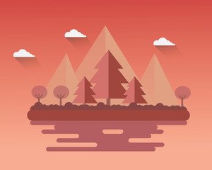 Flat design Landscape  autumn season vector design.