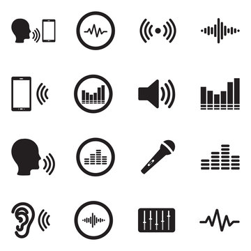 Voiceover Icons. Black Flat Design. Vector Illustration.