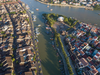 Aerial view of Hoi An old town or Hoian ancient town. Royalty high-quality free stock photo image of Hoi An old town. Hoi An is UNESCO world heritage, one of the most popular destinations in Vietnam
