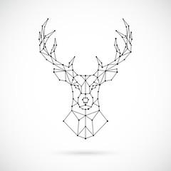 Polygonal Deer silhouette. Image of Deer in the form of constellation. Vector geometric illustration.
