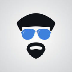 Portrait of man in ivy cap and blue sunglasses. Vector illustration.