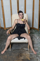 Woman ready to drink