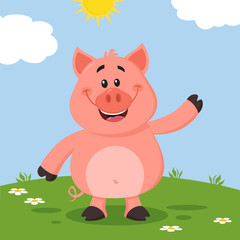 Cute Pig Cartoon Character Waving For Greeting. Vector Illustration Flat Design With Landscape Background