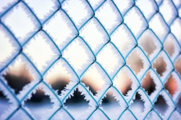 fence on a background of blue sky