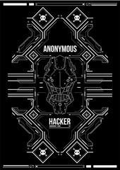 Cyberpunk futuristic poster. Retro futuristic poster template. Tech Abstract poster template. Modern flyer for web and print. hacking, cyber culture, programming and virtual environments.