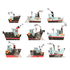 Collection of fishing boats, trawlers for industrial seafood production, retro marine steamers vector Illustration