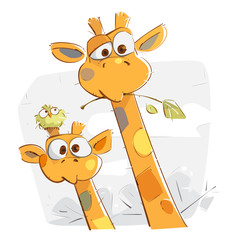 Mother Giraffe and Her Baby