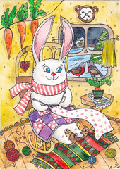 the hare sits in a rocking chair and knits. Watercolor illustration with a rabbit in a warm house, on winter street.