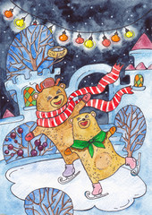 Two bears ice skating, an ice rink and a snow town. Watercolor illustration with winter bears