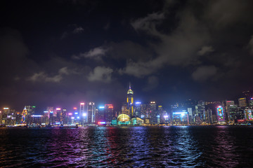 hong kong skyline at night , symphony of light