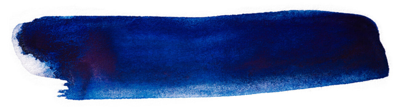 dark blue watercolor stain on a white background