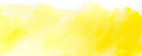 yellow watercolor stain drawn by hand. on paper with texture. Wall mural