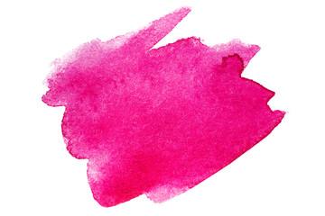 Obraz Magenta blot spot watercolor hand-drawn on white background isolated - fototapety do salonu