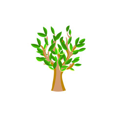 Flat summer green tree icon isolated on white background