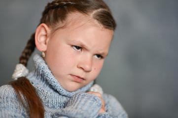 Close-up portrait of a cute sick girl