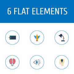 Set of creative icons flat style symbols with brain, writing, table lamp and other icons for your web mobile app logo design.