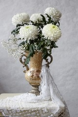 Still life with white chrysanthemums
