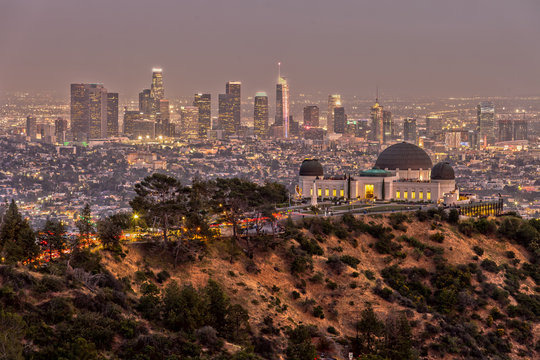 Griffith Observatory and the Skyline of Los Angeles at Dusk
