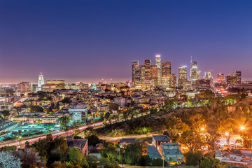 The Skyline of Los Angeles at Dusk