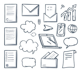 Office Paper Laptop Screen and Phone Set Vector