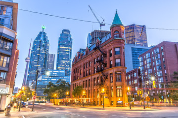 Wall Murals Toronto Gooderham Building in Toronto with CN Tower in the Background