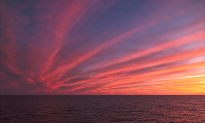 Sunset Over The Sea, Clear Separation Lines With Saturated Pink Color