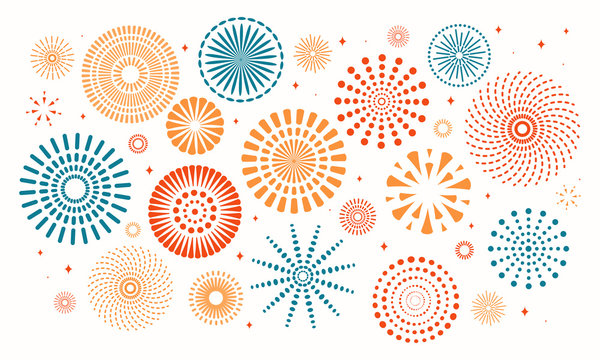 Colorful fireworks on white background. Isolated objects. Vector illustration. Flat style design. Concept for holiday banner, poster, flyer, greeting card, decorative element.