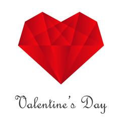 Logotipo abstracto con texto Valentine's Day con corazón como diamante en color rojo