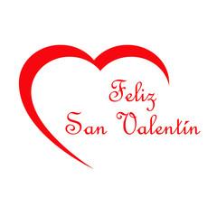 Logotipo con texto Feliz San Valentín con corazón en espacio negativo en rojo